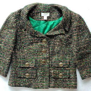 Ann Taylor Wool Green Tweed 3/4 Blazer Jacket 8 P